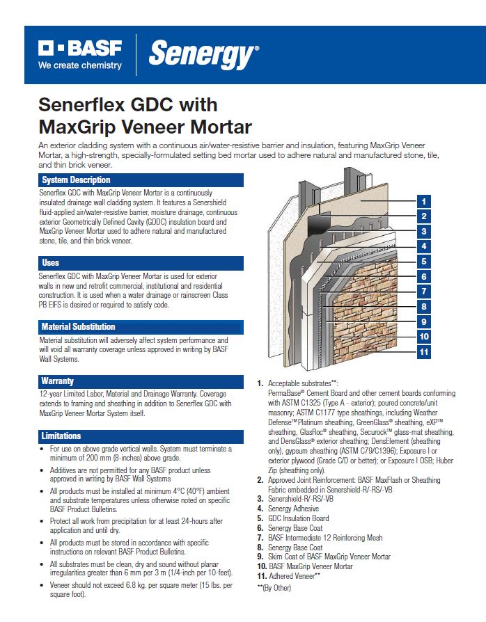 Senerflex GDC with MaxGrip Veneer Mortar System Summary