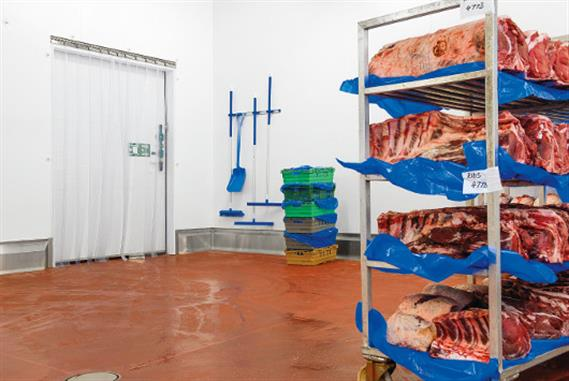 Pieces of meat in a meat factory.