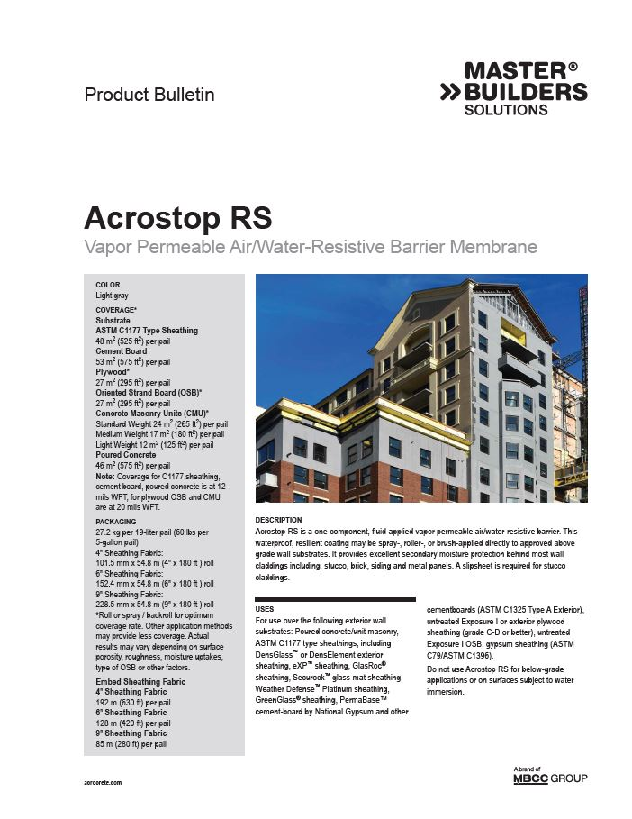 Acrostop RS Product Bulletin