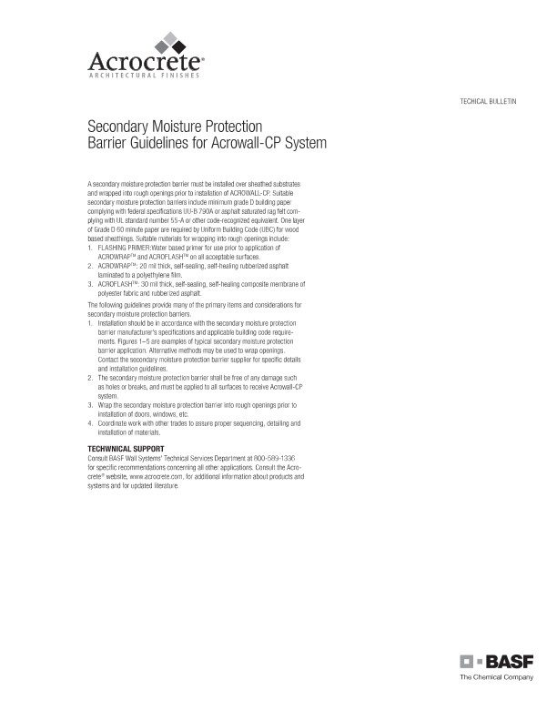 Secondary Moisture Protection Barrier Guidelines for Acrowall-CP System