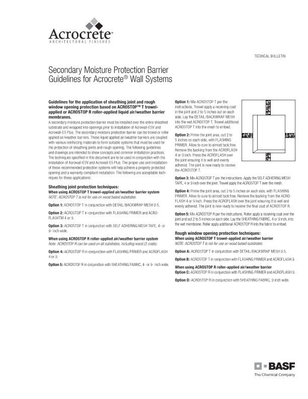Secondary Moisture Protection Barrier Guidelines