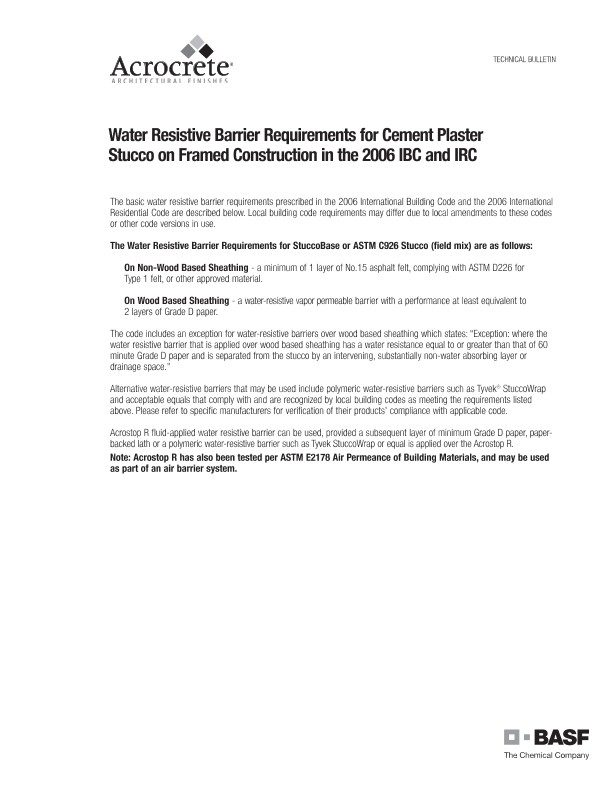 Water Resistive Barrier Requirements for Cement Plaster Stucco on Framed Construction