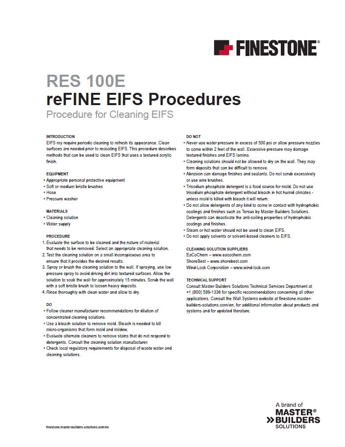 Procedure for Cleaning EIFS
