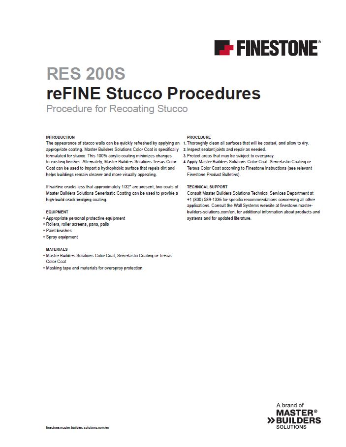 Procedure for Recoating Stucco