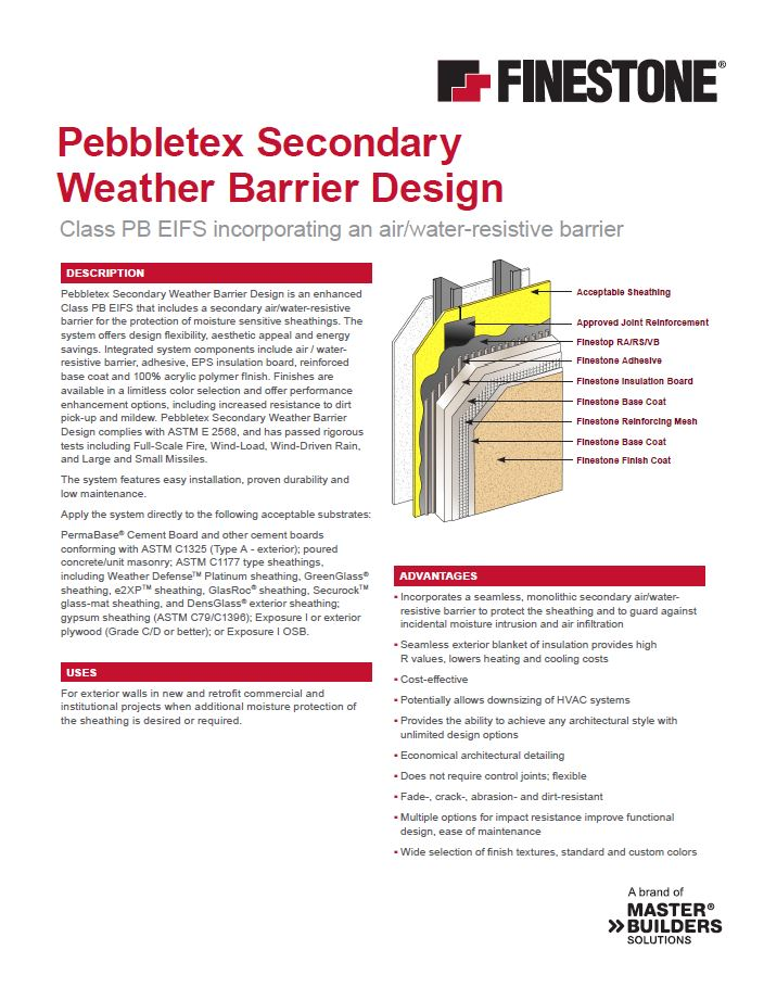 Pebbletex Secondary Weather Barrier Design System Overview