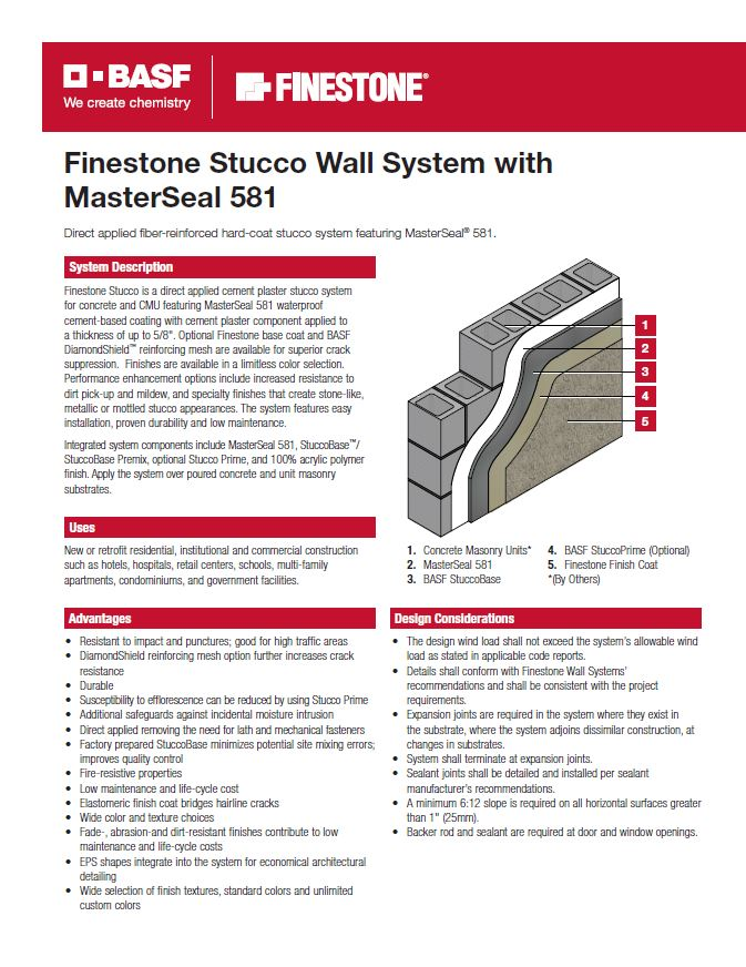 Finestone Stucco with MasterSeal 581 System Summary