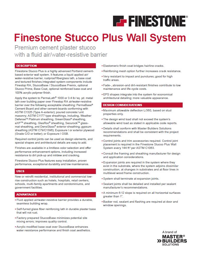 Finestone Stucco Plus Wall System Overview