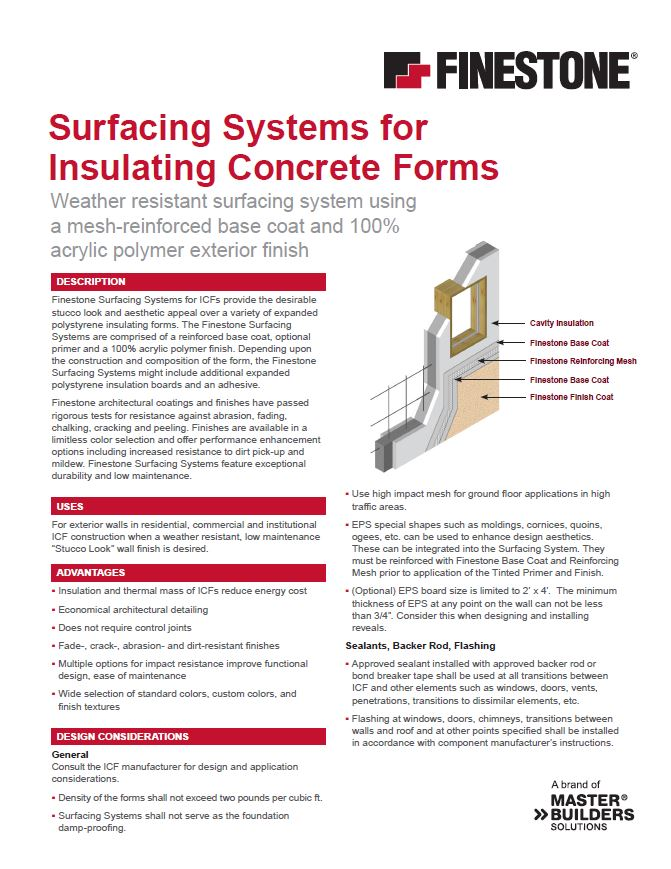 Textured Acrylic Surfacing Systems for ICFs System Overview