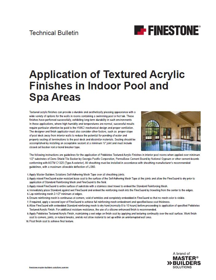 Application of Textured Acrylic Finishes in Indoor Pool and Spa Areas Teaser Image