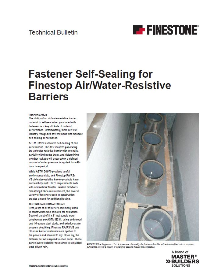 Fastener Self-Sealing for Finestop Air/Water- Resistive Barriers Technical Bulletin Teaser Image