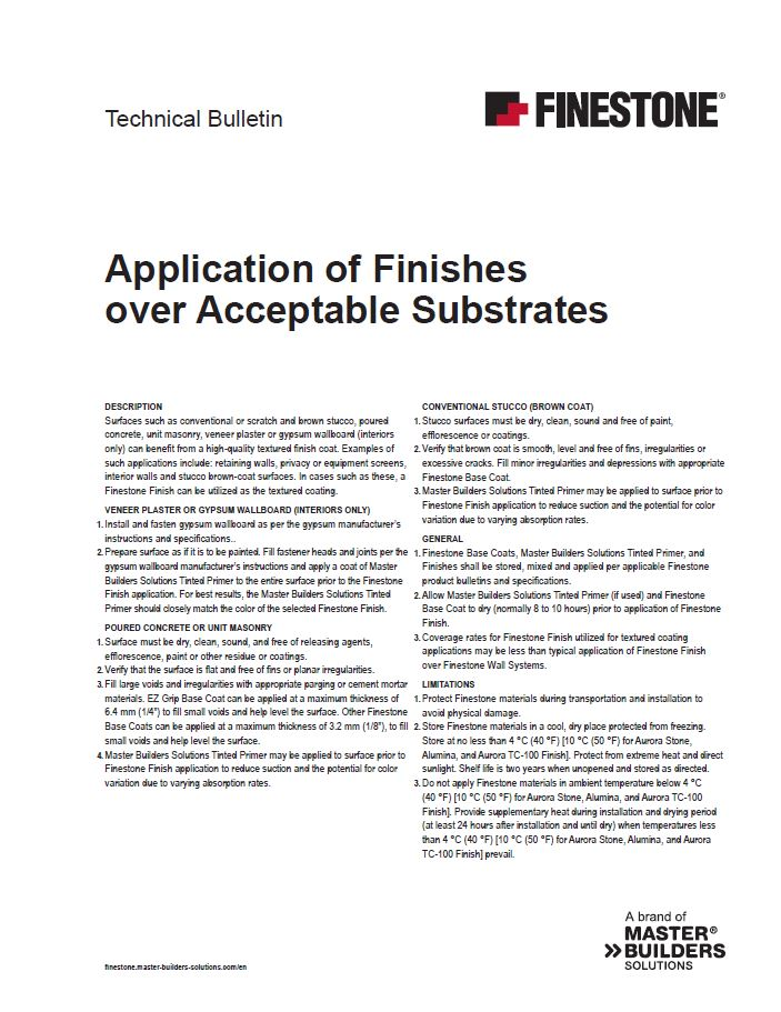 Application of Finishes over Acceptable Substrates Technical Bulletin Teaser Image