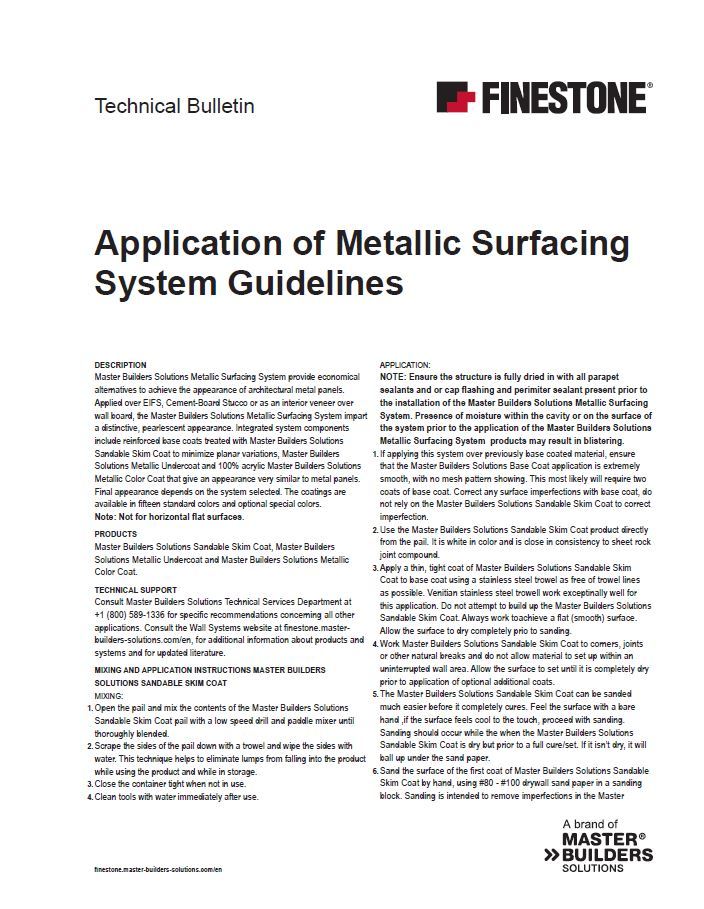 Application of Metallic Surfacing Systems' Guidelines Technical Bulletin Teaser Image