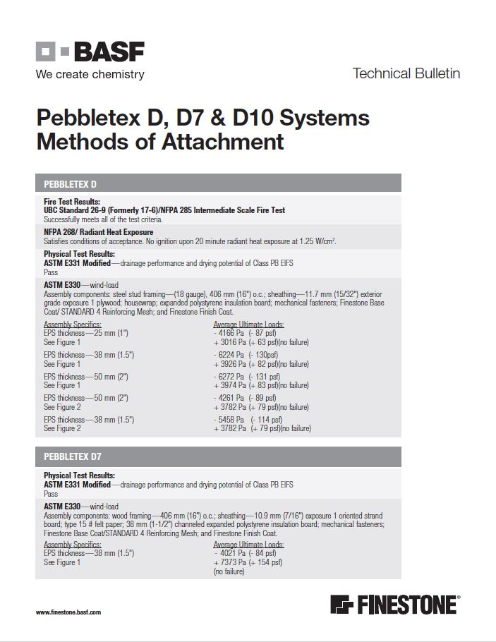 Pebbletex D, D7 & D10 Systems Methods of Attachment Technical Bulletin