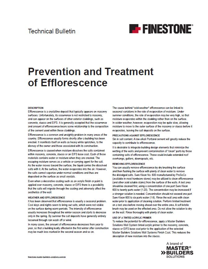 Prevention and Treatment of Efflorescence