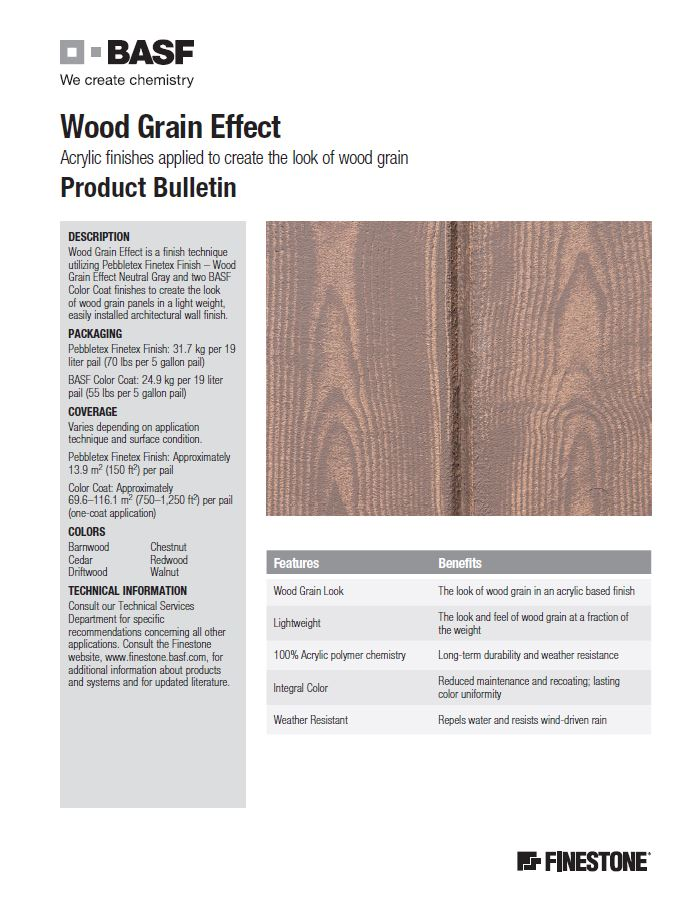 Finestone Wood Grain Product Bulletin