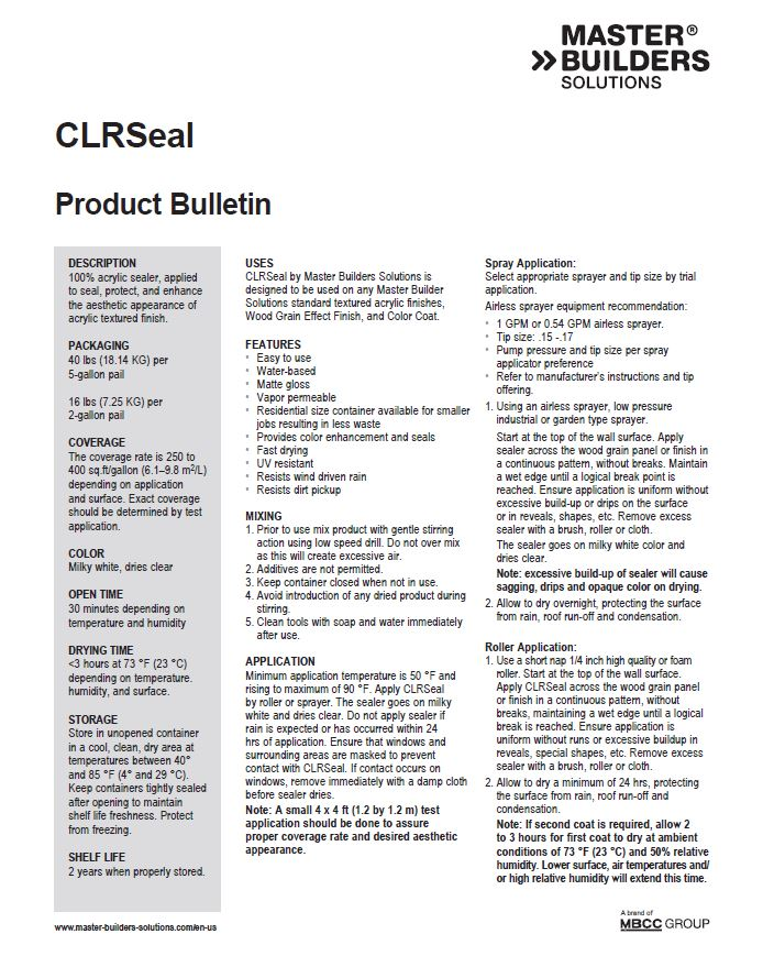 CLRSeal Product Bulletin