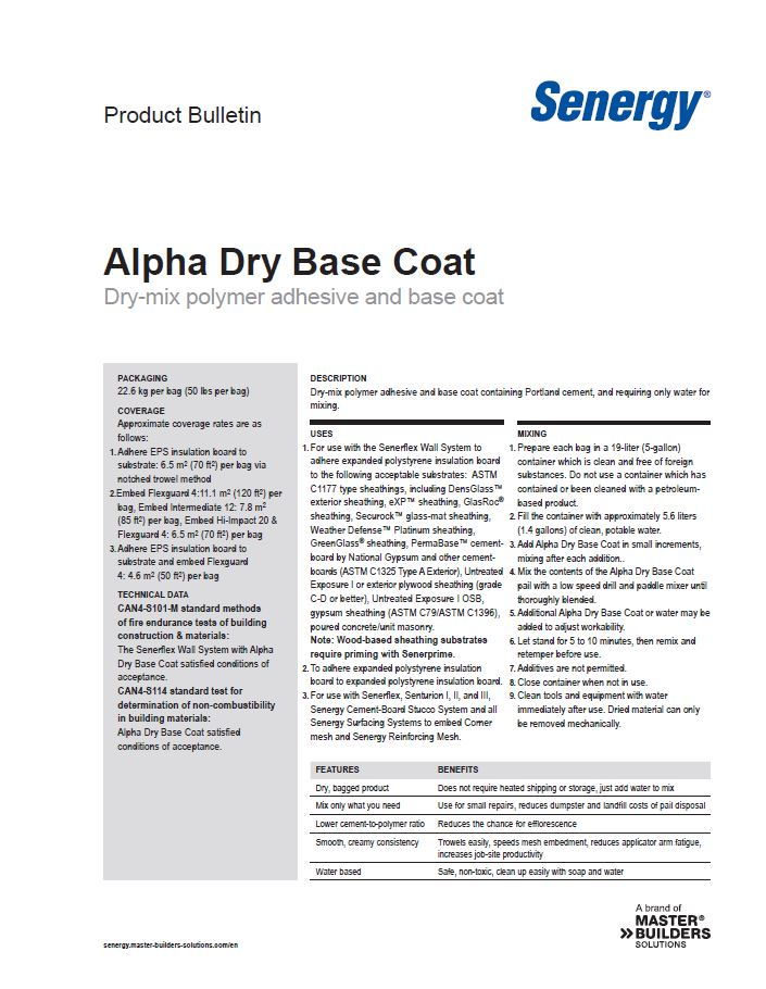 Alpha Dry Base Coat Product Bulletin