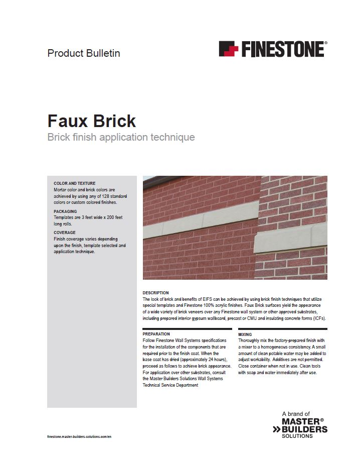 Finestone Faux Brick Product Bulletin