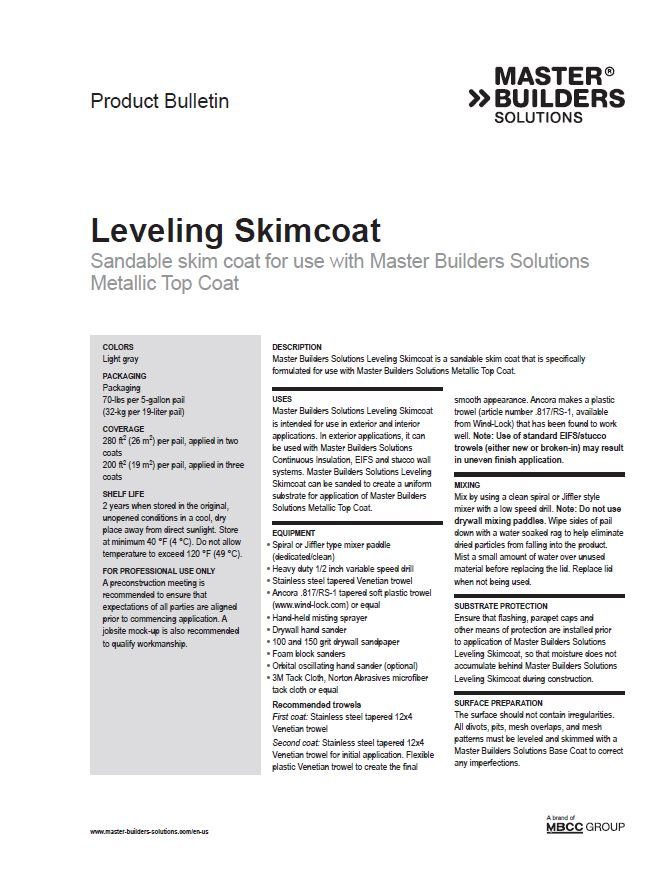 Leveling Skimcoat Product Bulletin