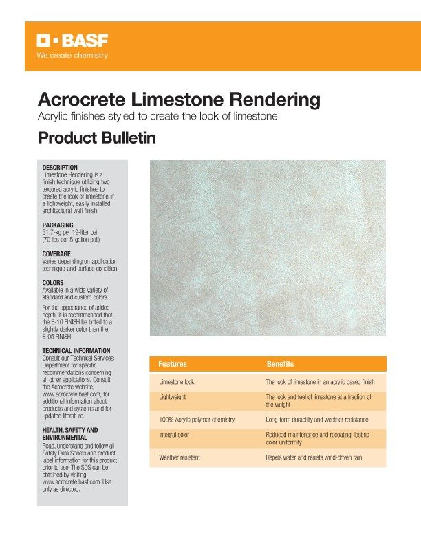 Limestone Rendering - Application Techniques Product Bulletin