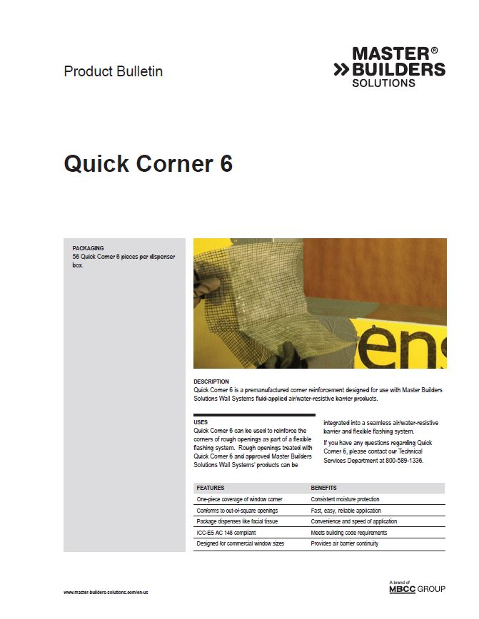 Quick Corner 6 Product Bulletin