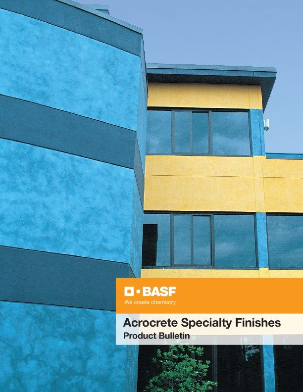 Acrocrete Specialty Finishes Product Bulletin