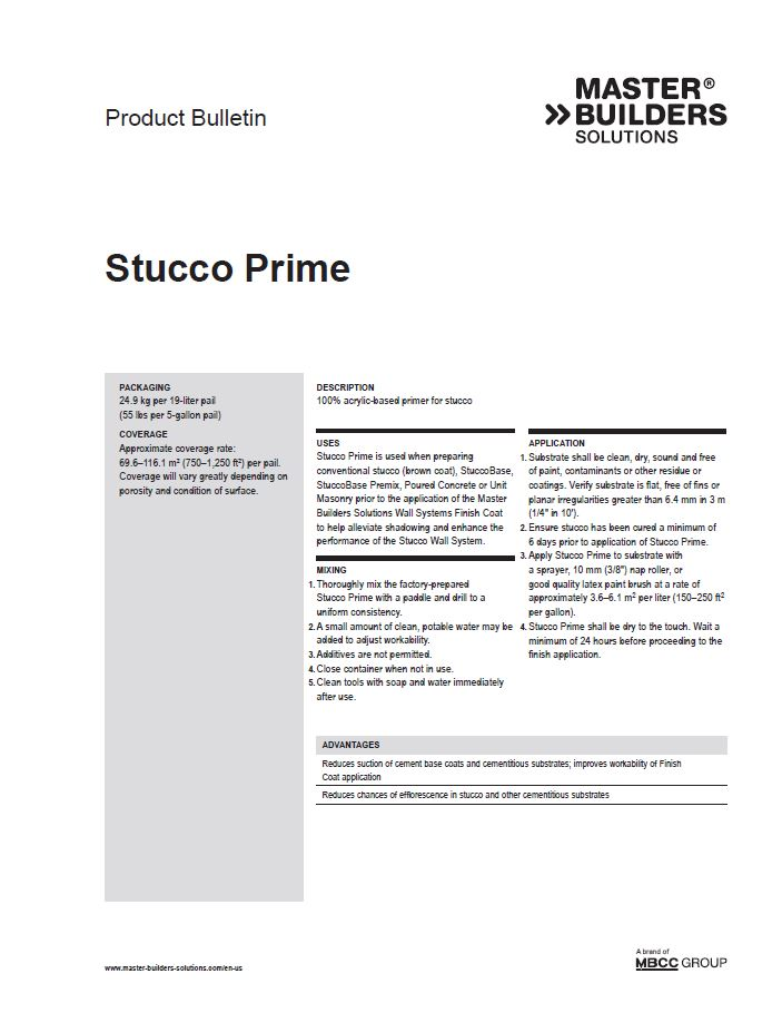 Stucco Prime Product Bulletin