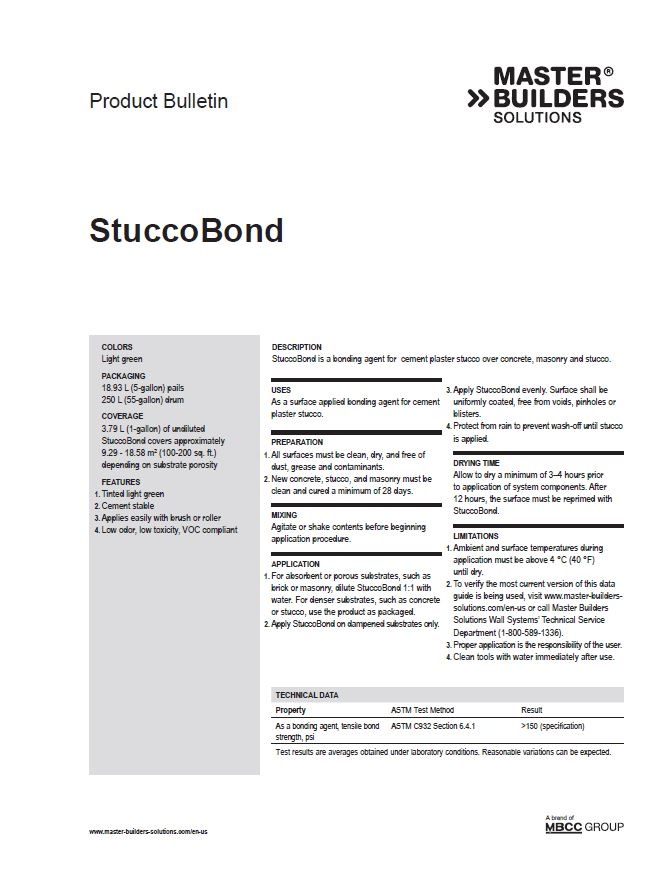 StuccoBond Product Bulletin