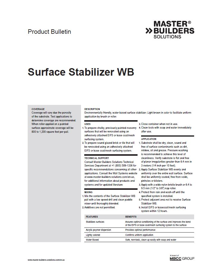 Surface Stabilizer WB Product Bulletin Teaser Image