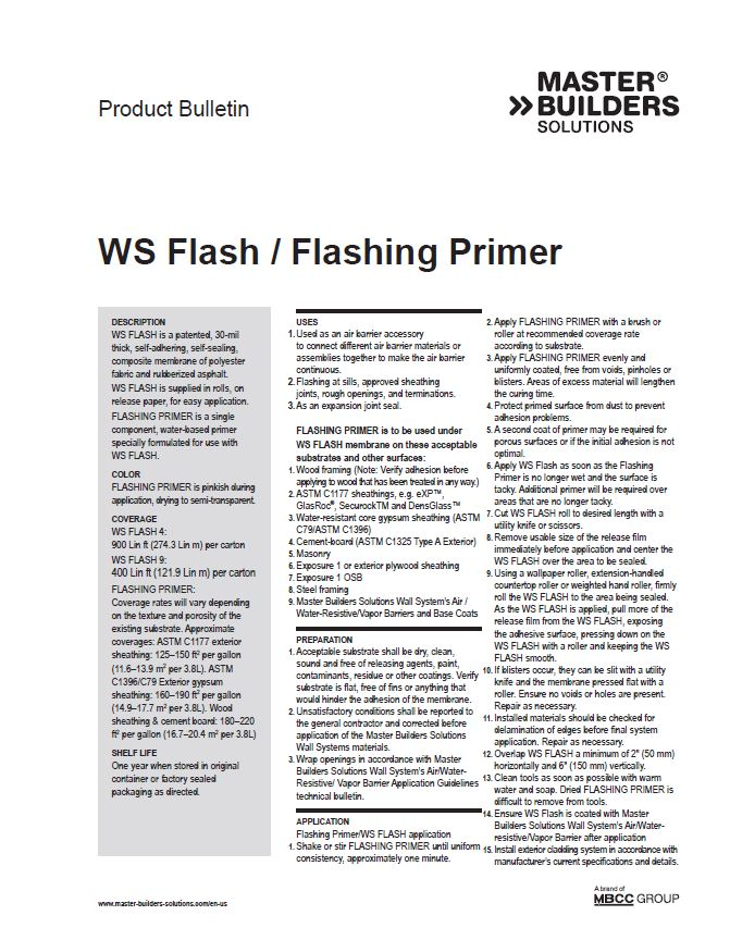 WS Flash / Flashing Primer Product Bulletin