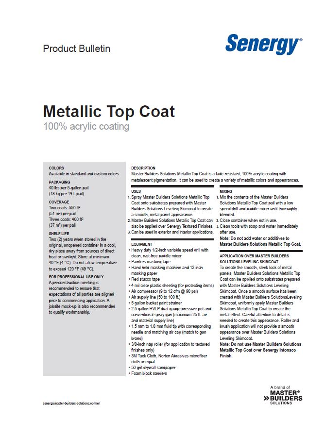 Senergy Metallic Top Coat Product Bulletin