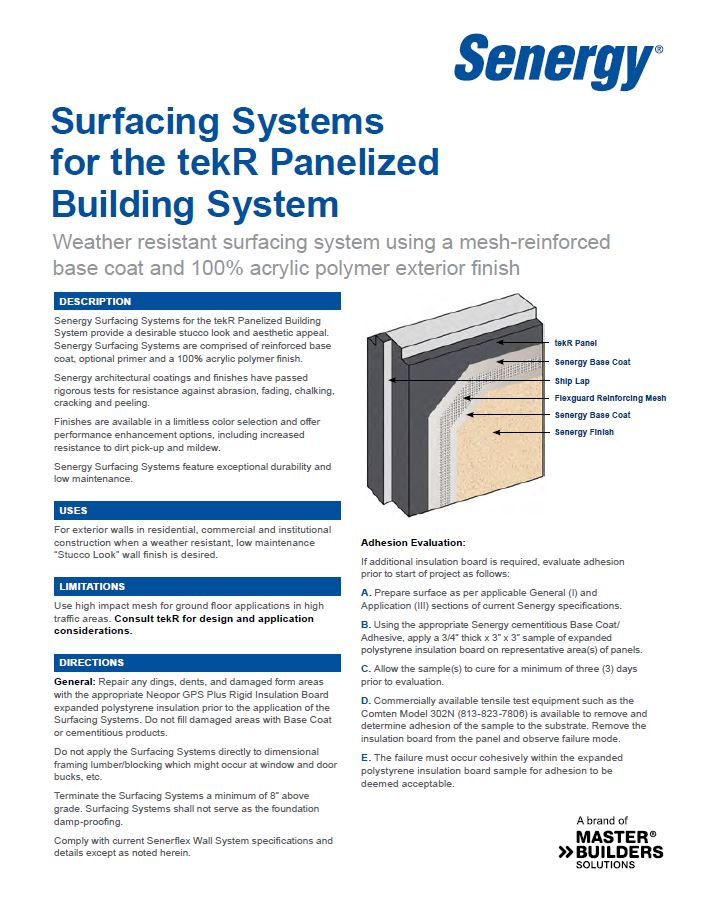 Senergy Surfacing Systems for tekR Systems System Overview