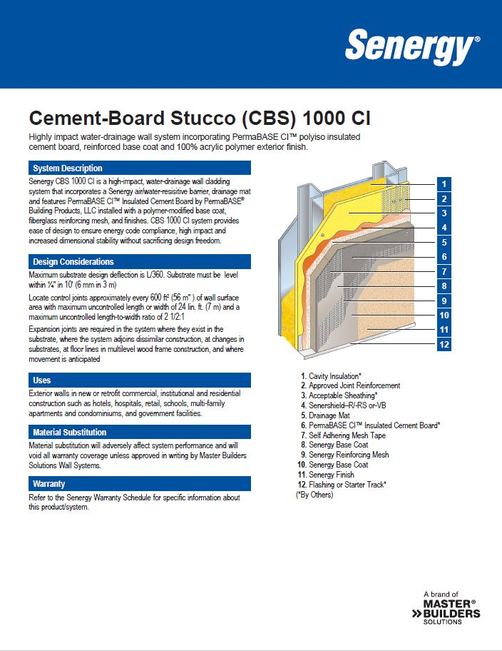 Cement Board Stucco 1000 CI System Summary