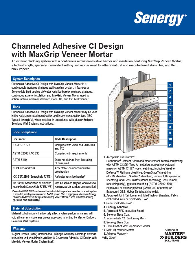 Channeled Adhesive CI Design with MaxGrip Veneer Mortar System Summary