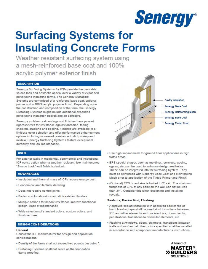 Senergy Surfacing Systems for ICFs System Overview
