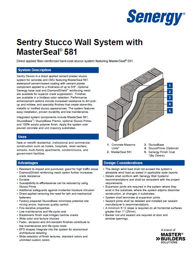 Sentry Stucco with MasterSeal 581 System Summary