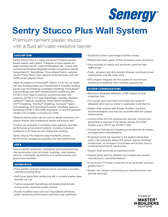 Sentry Stucco Plus System Overview