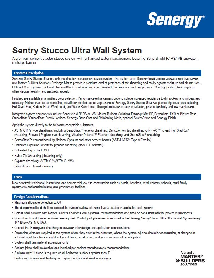 Senergy Sentry Stucco Ultra System Overview