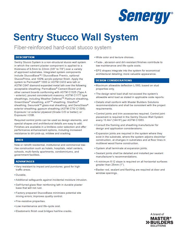 Sentry Stucco Wall System Overview