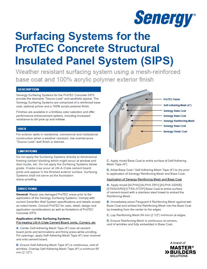 Surfacing System for ProTEC Structural Insulated Panel Systems (SIPS)