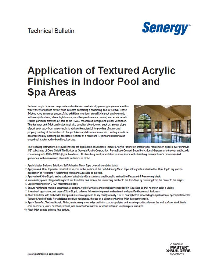 Application of Textured Acrylic Finishes in Indoor Pool and Spa Areas Technical Bulletin