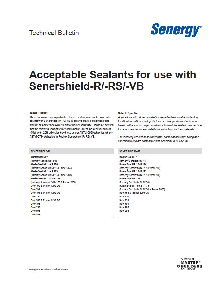 Acceptable Sealants for use with Senershield-R, Senershield-RS and Senershield-VB