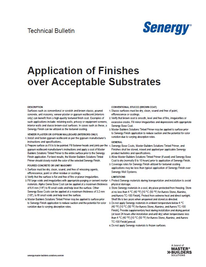 Application of Finishes over Acceptable Substrates Technical Bulletin