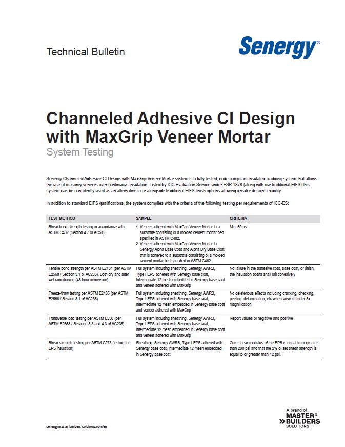 Channeled Adhesive CI Design with MaxGrip Veneer Mortar System Testing Technical Bulletin