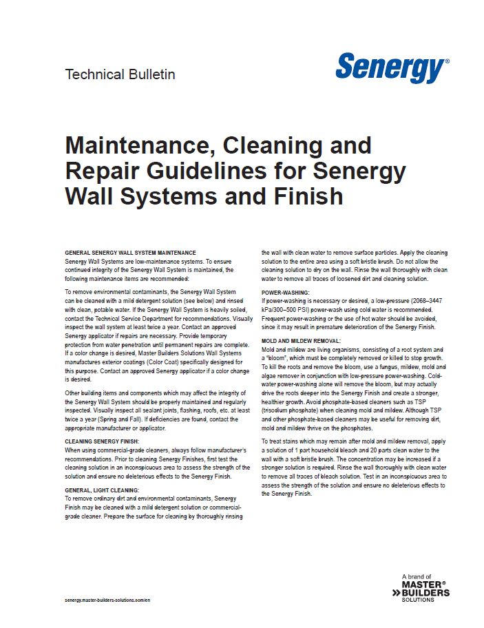 Maintenance, Cleaning and Repair Guidelines for Senergy Wall Systems and Finish