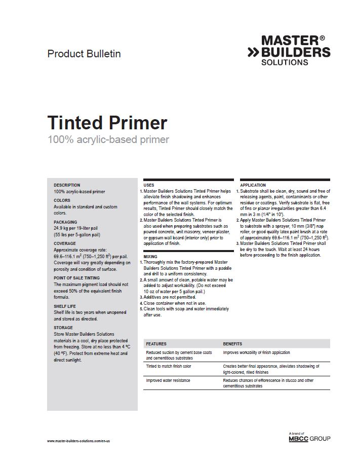 Tinted Primer Product Bulletin