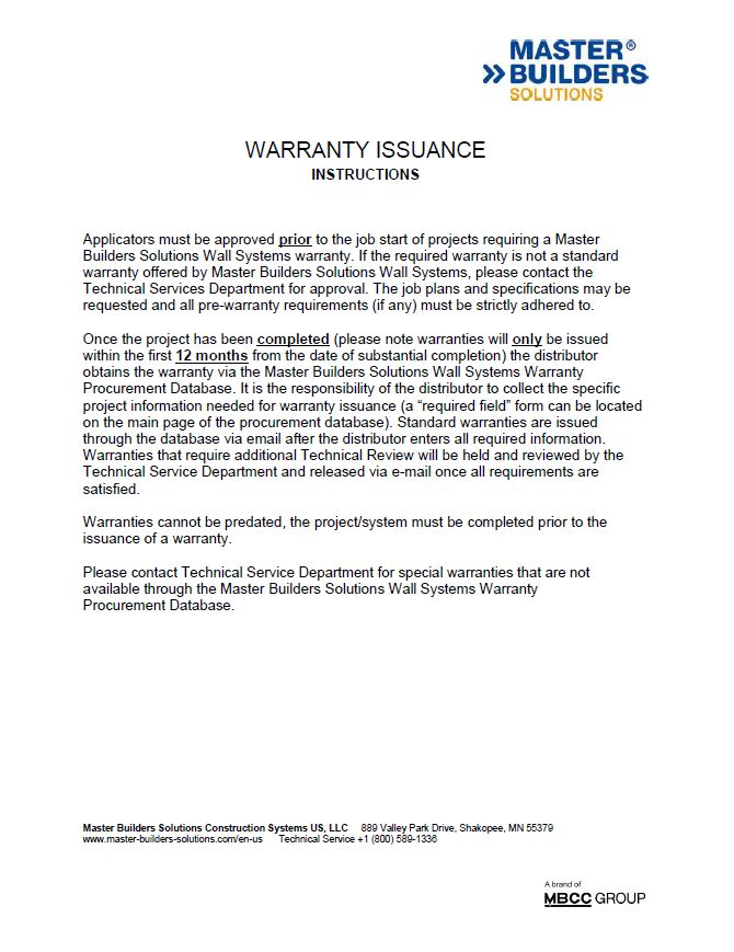 Warranty Issuance Instructions