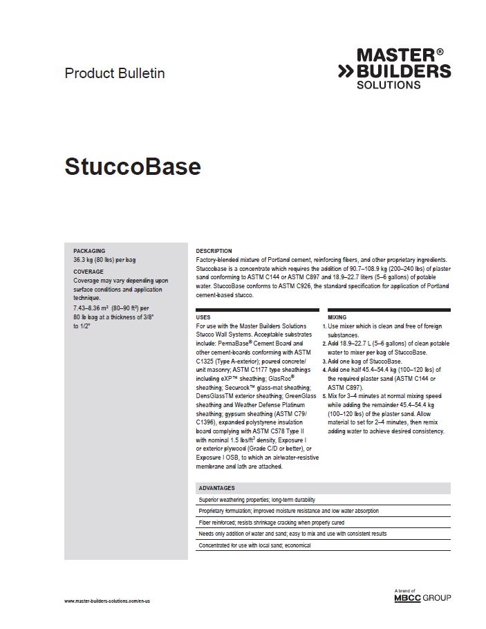 StuccoBase Product Bulletin