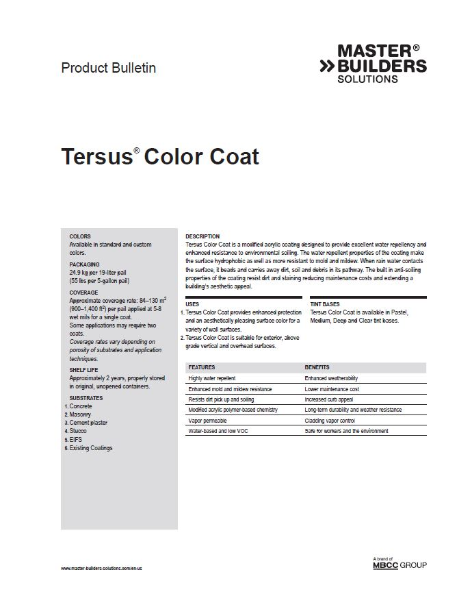 Tersus Color Coat Product Bulletin