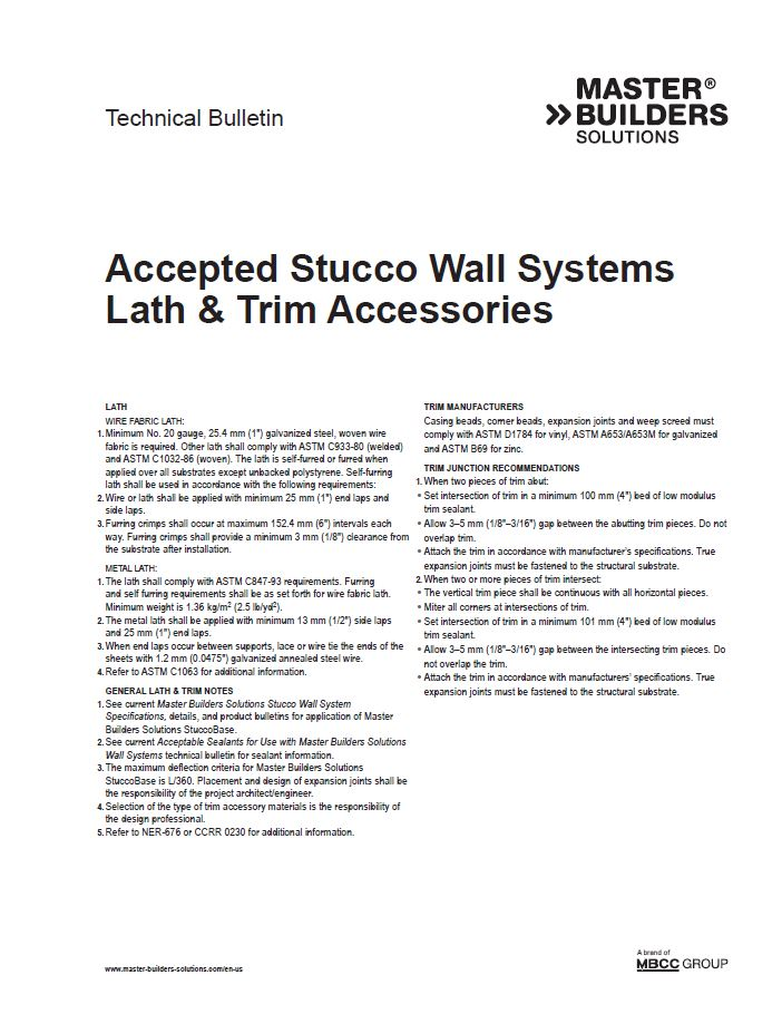 Accepted Stucco Wall Systems Lath and Trim Accessories
